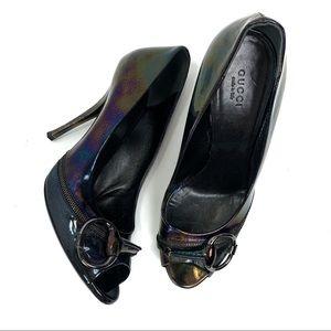 GUCCI oil slick iridescent horse-bit stilettos